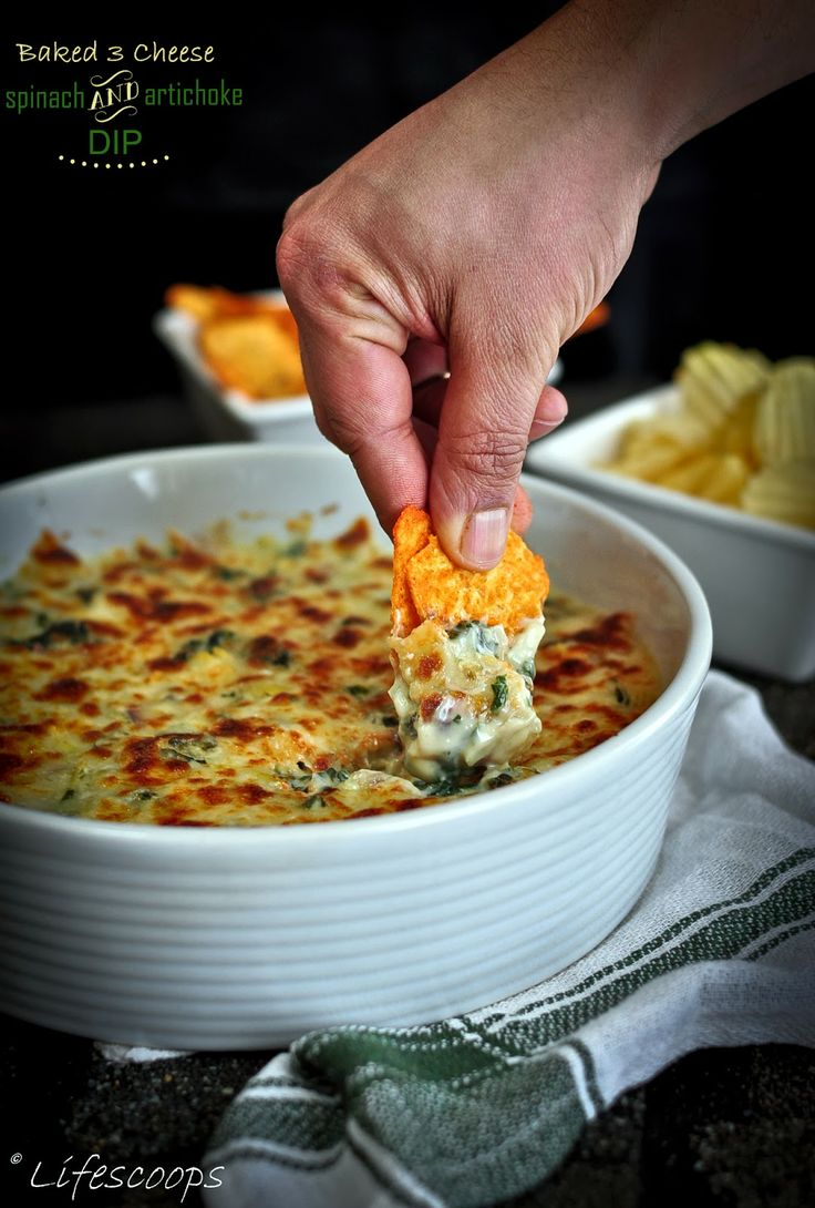 Irresistible Baked 3 Cheese Spinach and Artichoke Dip.
