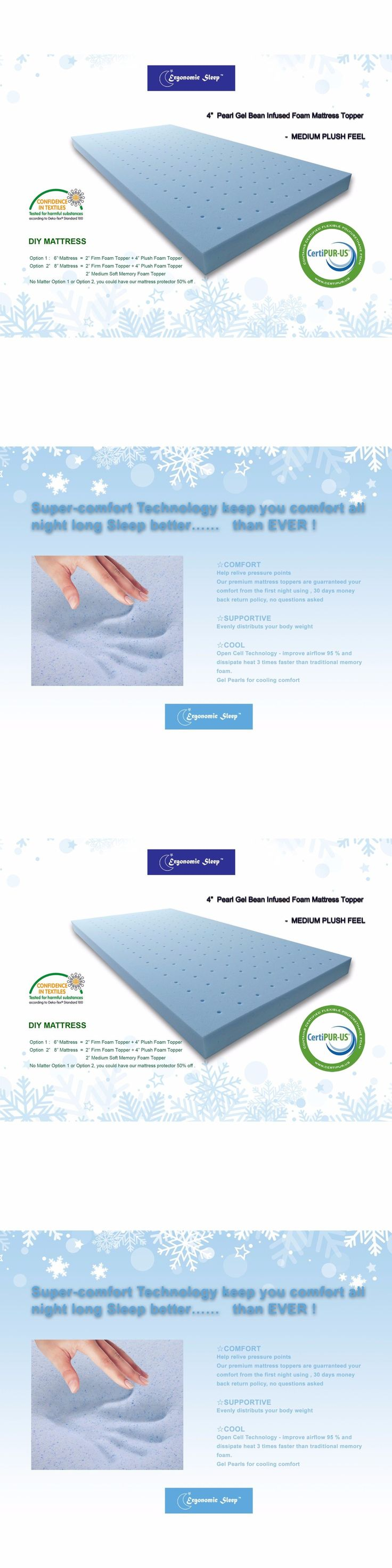 Mattress Pads and Feather Beds 175751: Cool Gel Memory Plush Foam Mattress  Topper Hypoallergenic Bed