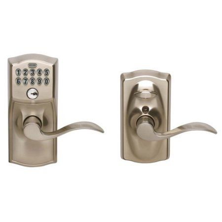 Schlage FE595VCAM619ACC Satin Chrome Accent Entry Lever Keypad Lock, Silver