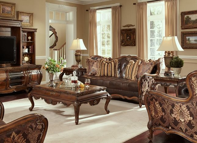 Lavelle melange traditional leather and fabric with wood for Formal sofa sets