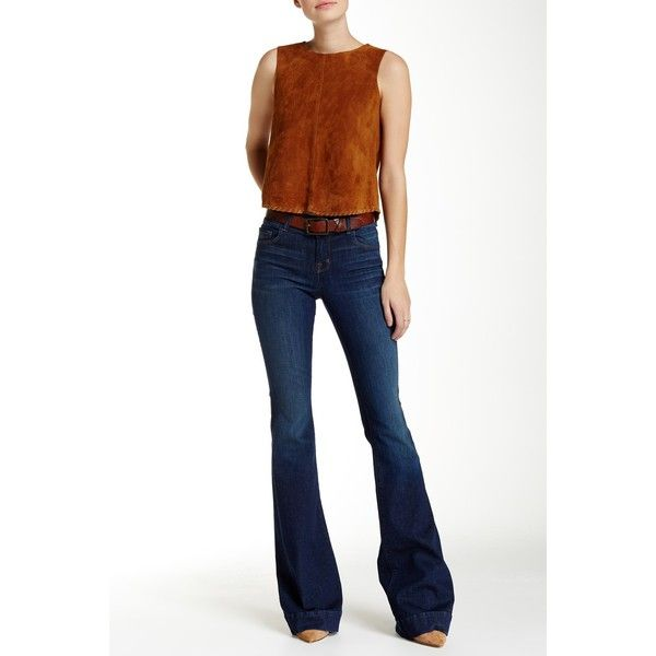 J Brand Love Story Low Rise Bell Bottom Jean ($80) ❤ liked on Polyvore featuring jeans, trouble, low rise bell bottom jeans, j brand, zipper jeans, j brand bell bottoms and frayed jeans