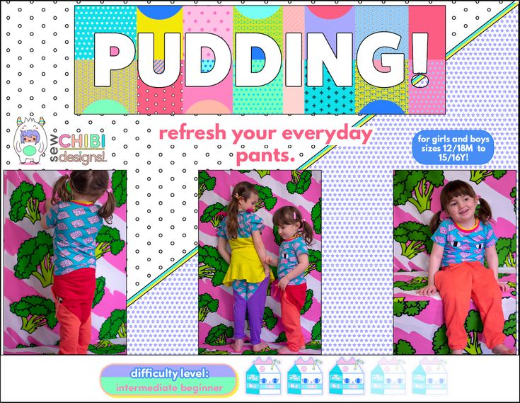 Pudding Pants PDF Pattern by Sew Chibi Designs $12 sizes 12M-16Y (or adult!). For boys AND girls. on sale for 15% off through 4/23/18! A relaxed fit knit pants pattern, rockin' three different hem options, drawstring waistband, solid pants or color-blocked with pockets, as well as optional pin-tucking. Make them as vivid or monotone as you want; for boys AND girls from toddler 12/18M all the way up to 15/16Y!