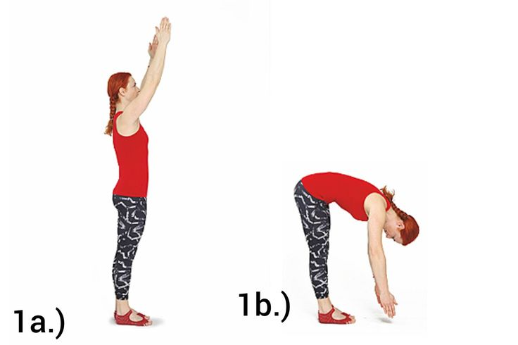 ROLL DOWN  Výchozí pozicí je stoj vzpřímený s rukama ve vzpažení. Rozkročíme se na šířku kyčelních kloubů. Hlavu vytáhneme vzhůru a kostrč necháme pomyslně spadnout mezi paty. Poté začneme páteř rolovat obratel po obratli dolů. Na konci pohybu svěsíme paže volně podél těla a uvolníme krční páteř. Z této pozice začínáme opět rolovat do vzpřímeného stoje.  # Pozor na postavení kolen v průběhu cvičení. Kolena nejsou propnutá směrem dozadu!