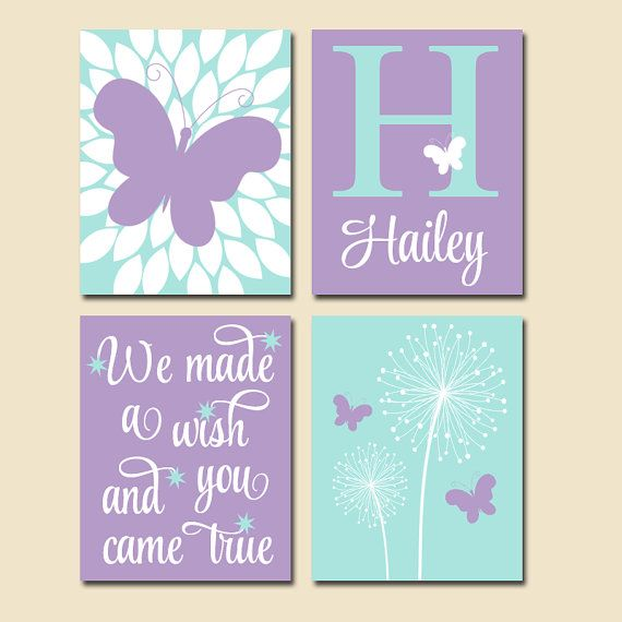 Dandelion Butterfly Nursery Wall Art We Made A Wish Quote Baby Girl Artwork Bedroom Pictures Canvas Or Print Set Of 4 Decor Aqua Lavender