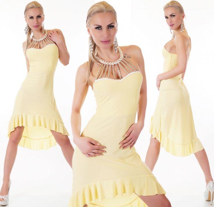 Sárga köves fodros ruha