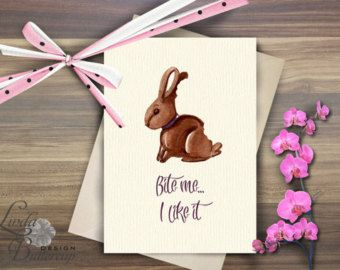 Funny Easter card, Easter bunny, easter decorations, Bunny card, Easter greeting card, Rabbit art, Chocolate bunny, easter egg, funny card