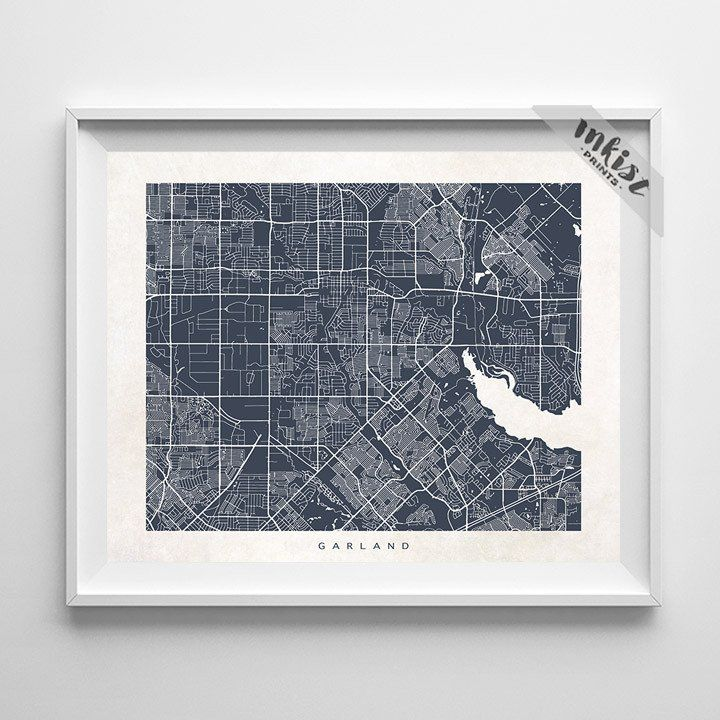 Garland, Texas Street Map Print. Prices from $9.95. Available at www.InkistPrints.com #Garland #StreetMap