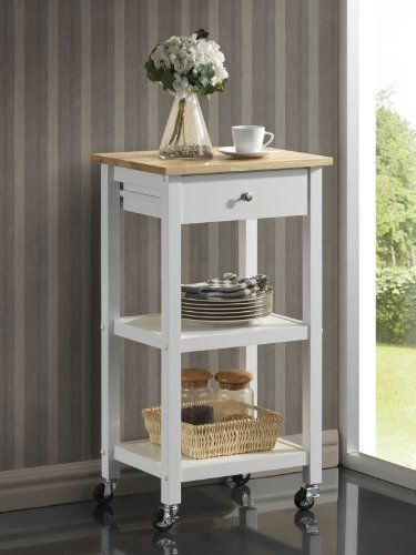 Special Offers - Roundhill Wood Kitchen Cart on Wheels White - In stock & Free Shipping. You can save more money! Check It (April 30 2016 at 12:40PM) >> http://bathvanitiesusa.net/roundhill-wood-kitchen-cart-on-wheels-white/