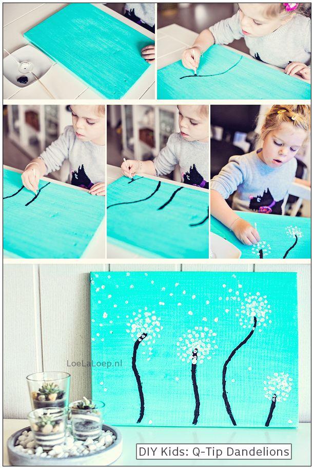 Q-Tip Dandelions #craft #kids #art #paardenbloem #Löwenzahn #DIY