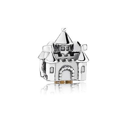 Live happily ever after with the cutest princess castle charm in sterling silver with 14k gold crown detail and pink cubic zirconia at the bottom. $75. #PANDORA #PANDORAcharm #FairyTale