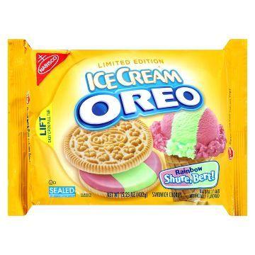 Nabisco Oreo Rainbow Shure-Bert! Ice Cream Golden Sandwich Cookies 15.25 oz