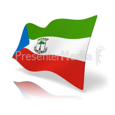 This clip art image shows the Equatorial Guinea flag at a perspective angle. #powerpoint #clipart #illustrations