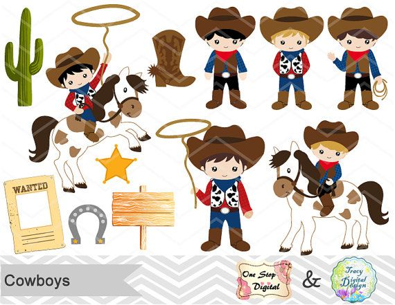 Vaquero Digital Clip Art, Clipart digitales Cowboys, lindo niño vaquero Digital…