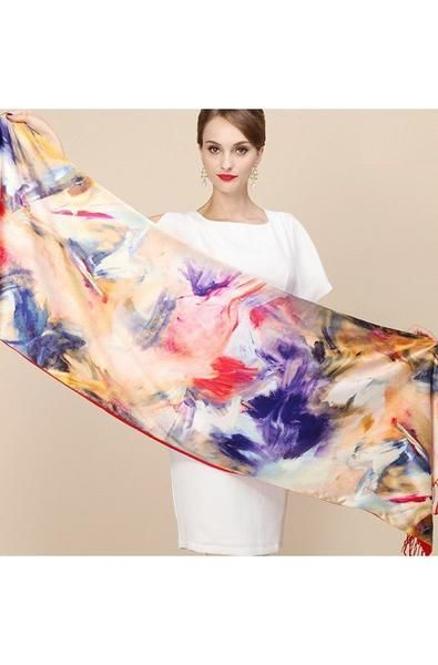 Two Layer Scarf One Sideis 100% Silk Another Sideis Brushed Fabric that Feels like Cashmere Two Layers To Keep You Warm While Showing Your Beauty