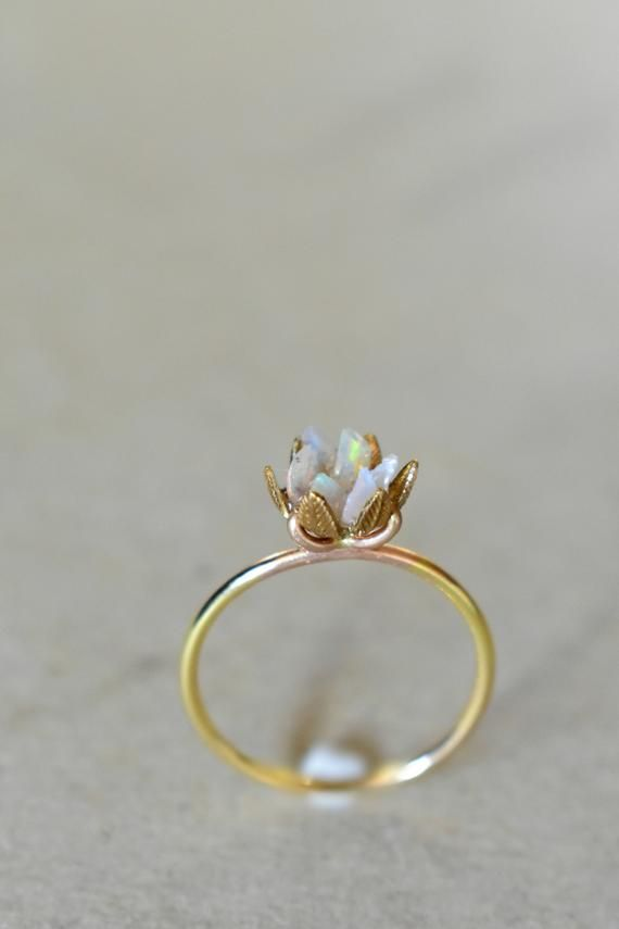 Unique Opal Ring Lotus Flower Ring In Yellow Gold Uncut Opal