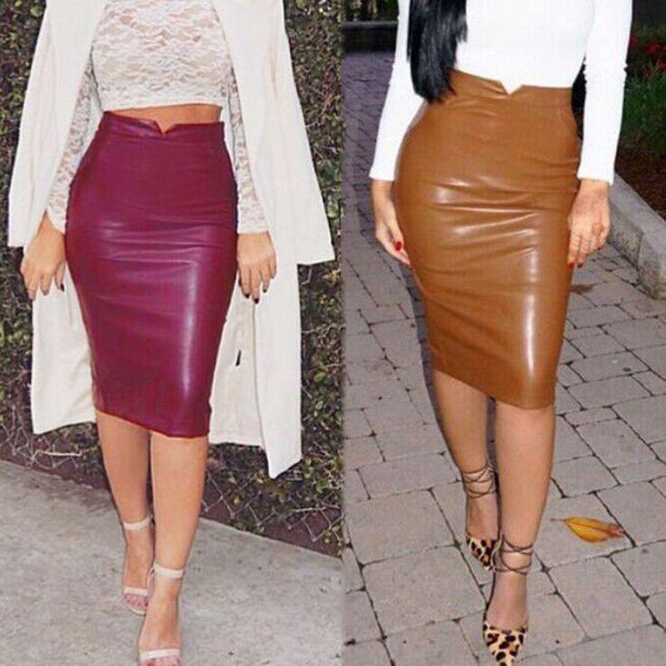 Aliexpress.com: Comprar Mujeres rayón PU imitación de cuero del estiramiento atractivo Maxi Faldas para Mujer de talle alto Saia Faldas Mujer Midi larga falda lápiz de lápiz falda vaquera fiable proveedores en HotGirl Online