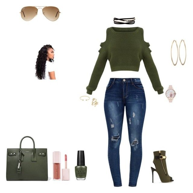 """Green and Gold"" by elisabeth-bell-1 on Polyvore featuring Gucci, Giuseppe Zanotti, Yves Saint Laurent, Lydell NYC, Kenneth Jay Lane, Luv Aj, Olivia Burton, Ray-Ban, OPI and Puma"