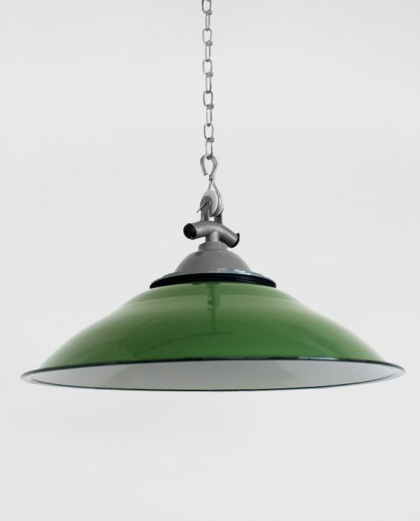 Comptoir (Green) This mid-century European flat-style light shade is traditionally used over countertops and benches. The contrasting white interior adds a classic look and really makes the shade stand out.