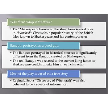 Macbeth  by Shakespeare- Background Information Power Point- This is a 34-page, visual Power Point presentation about Shakespeare's play, Macbeth. It includes a historical overview of the characters, setting and plot of Macbeth.
