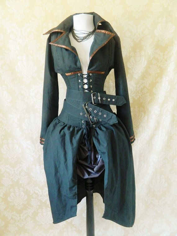 PRE-HOLIDAY SALE-Steampunk Army Military Steel Boned Bustle Corset Coat, Valkyrie Lace Front Corset-To Fit A 28-30 Inch Natural Waist