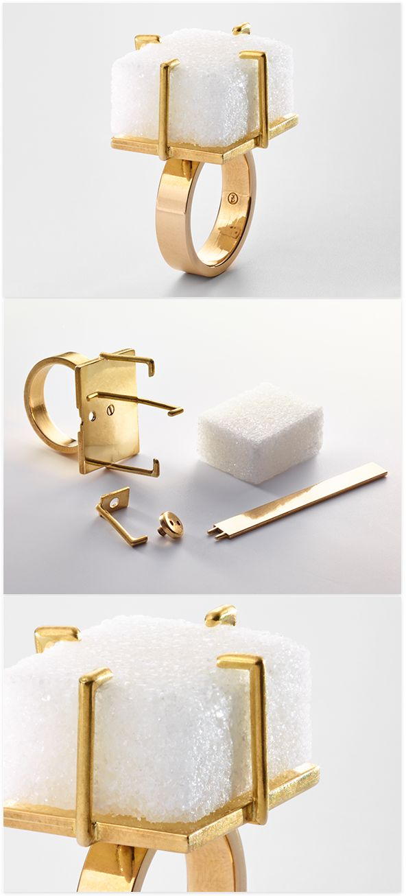 Meret Oppenheim 'sugar' Ring - The sugar ring, which Meret Oppenheim designed in the mid-1930s, is an absurd and delightful combination of artifice and so-called nature, of opulent and cheap materials. The throwaway and frangible sugar cube is elevated to the status of a lasting, precious stone; an edible material is made wearable. At any time the wearer can exchange the cube for a fresh 'jewel'.