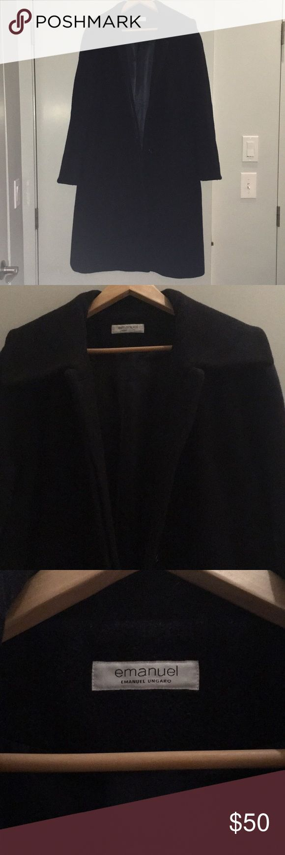 Emanuel Ungaro black pea coat Very high-end coat. Purchased new for about $1500. Has pilling and signs of wear, which are reflected in price. Size 12 or 14, although tag doesn't say. Emanuel Ungaro Jackets & Coats Pea Coats