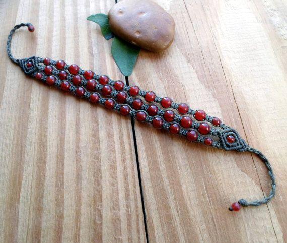 Carnelian macrame bracelet healing jewelry gemstone