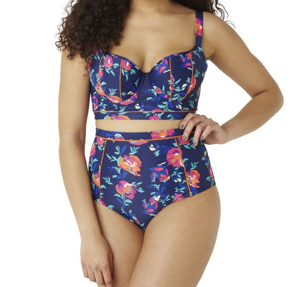 Nieuwe Zomer badmode 2015 - Hippe Longline bikini bh met Hoge Bikini Slip Cassie in Floral print - cupmaten D t/m H