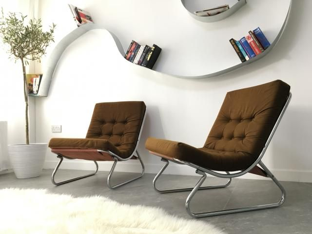 Vintage Brown Lounge Chairs by Peter Hoyte, 1970s, Set of 2 for sale at Pamono