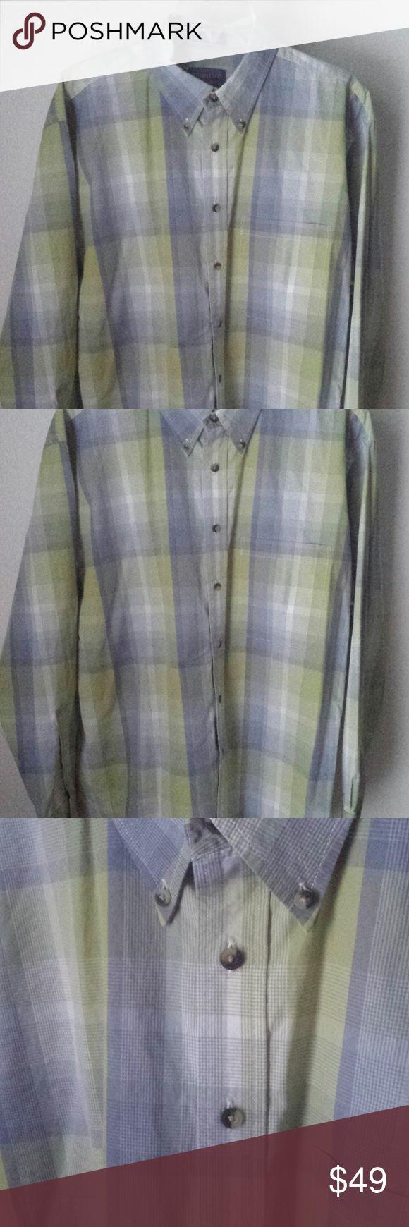 Pendleton Woolen Mills Button Down Shirt Pendleton Woolen Mills  100% Cotton  Blue Green  Button Down Shirt  Size Large Pendleton Shirts Dress Shirts