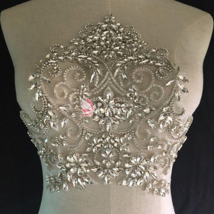 Designer Silver Sparkling Rhinestone Beaded Applique