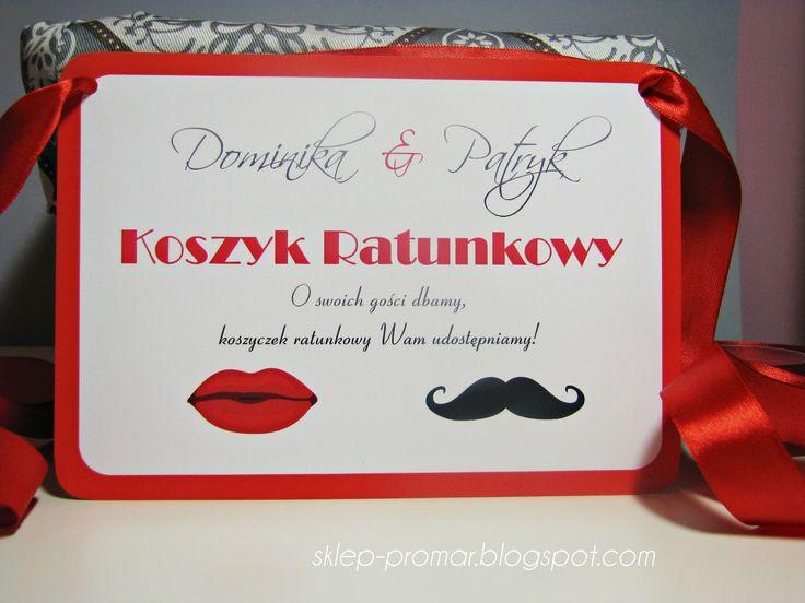 Papeteria szyta na miarę: Karty na koszyk ratunkowy Czerwone Wąsy Usta #koszyczek ratunkowy #koszyk ratunkowy #slub #wesele