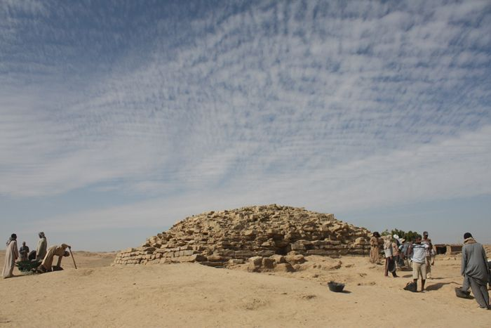 "Archaeologists working near the ancient settlement of Edfu in southern Egypt have uncovered a step pyramid that dates back about 4,600 years.  The step pyramid, which once stood as high as 13 meters, is one of seven so-called ""provincial"" pyramids built by either the pharaoh Huni (reign ca. 2635-2610 B.C.) or Snefru (reign ca. 2610-2590 B.C.). Over time, the step pyramid's stone blocks were pillaged, and the monument was exposed to weathering, so today, it's only about 16 feet (5 m) tall."