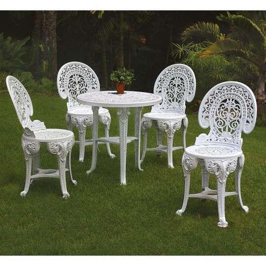 Conjunto de Mesa de Plástico Redonda 70cm e 4 Cadeiras Colonial Branco
