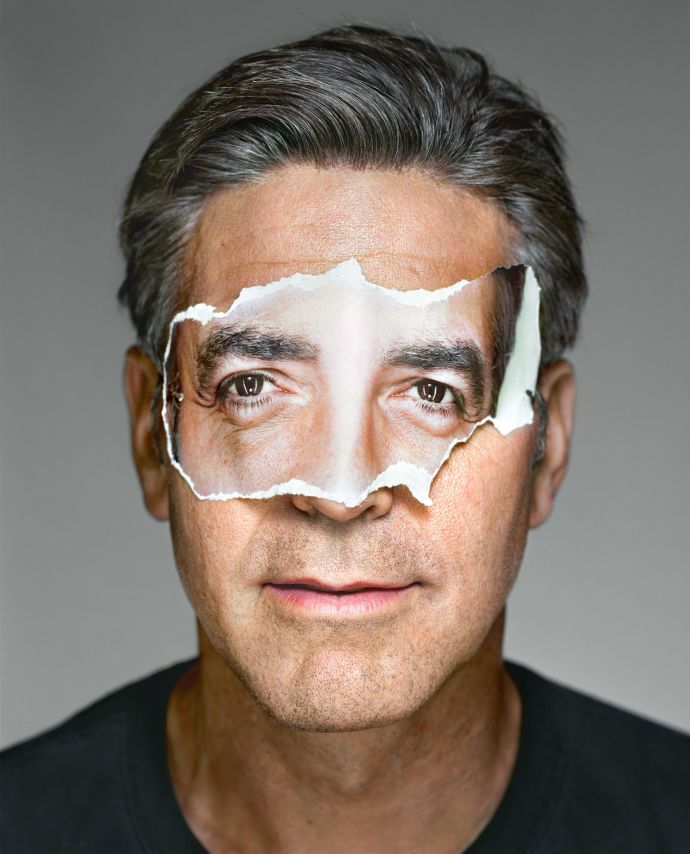 George Clooney with Mask; Brooklyn, NY, 2008: Martin Schoeller's Portraits