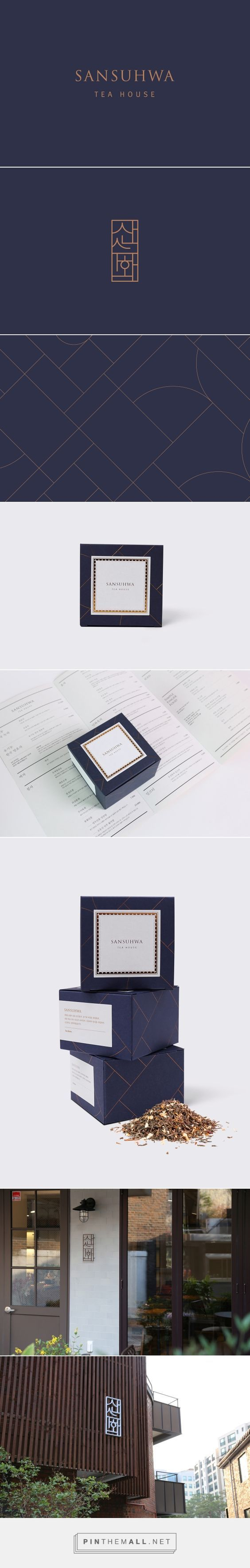 Sansuhwa Tea House | It is our intention in this work to symbolize the blending of Korean Hangul typography with splendid scenery of the mountain and river which has expressed in Sansuhwa. Also, we have used to extend some of this symbols with harmony of straight lines and curves into patterns for various packaging design. | STUDIO FLAG: