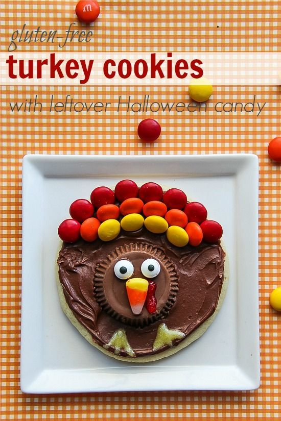 Gluten-free Turkey Cookies using leftover Halloween candy