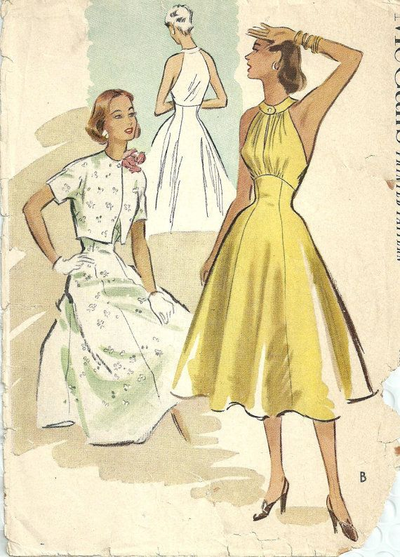 McCalls 8899 Vintage 1952 Sewing Pattern Misses Elegant Halter Dress Short Bolero Jacket Size 12: Bust 30 Waist 25 Hip 33 UNCUT FF at studioGpatterns on etsy.com. jwt