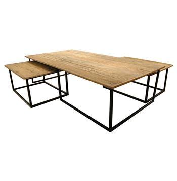 Dickens Reclaimed Wood Modern Large Coffee Table Set