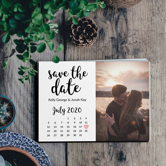 Simple Calendar And Photo Wedding Save The Date Engagement Etsy Wedding Saving Engagement Announcement Cards Wedding Save The Dates
