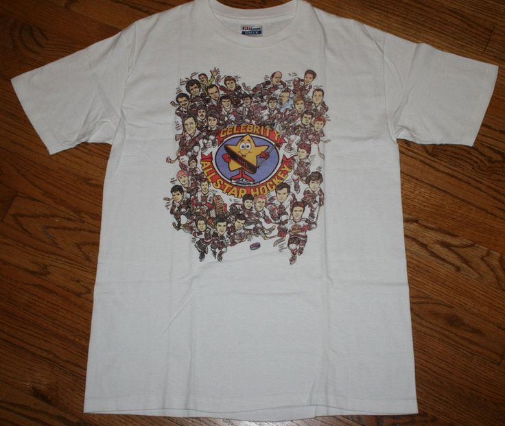 Rare Celebrity All Star Hockey NHL T-Shirt Caricature tee Men's Large vintage #Hanes #GraphicTee