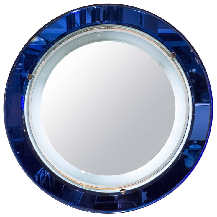 Italian blue and white mirror with backlight in the style for Mirror 07 07 07