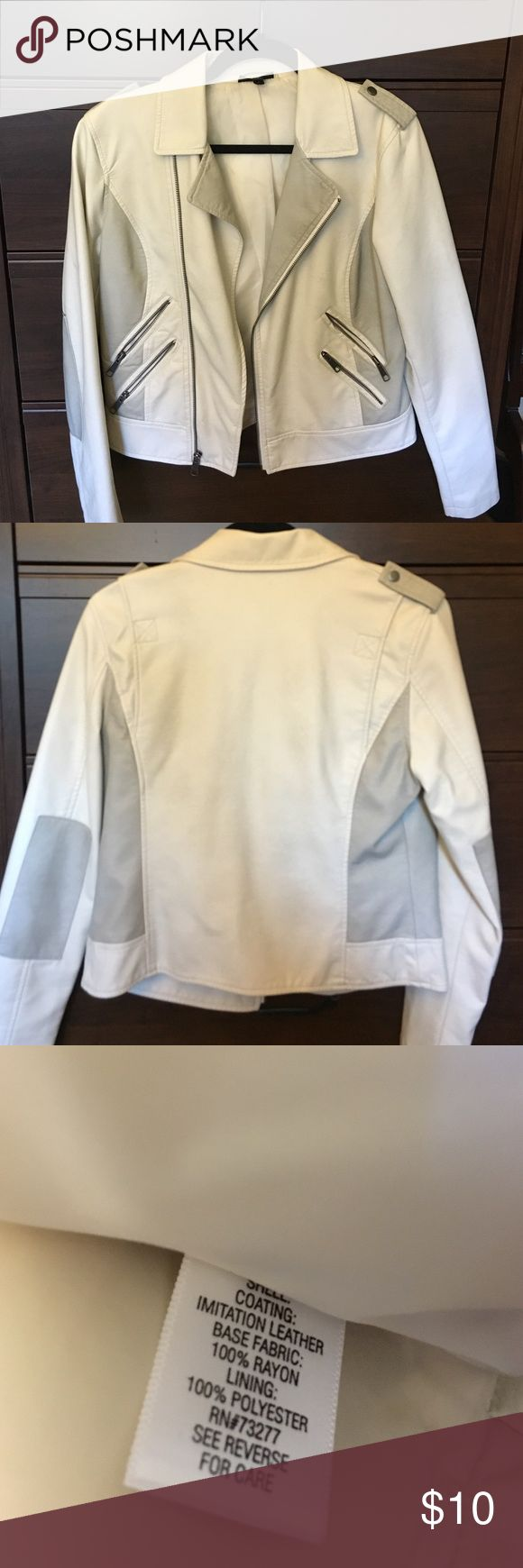 Apt.9 Imitation Leather Jacket Really cute white moto jacket! Worn it a few times, and then fell into the back of the closet for a long time. Functional double zippered pockets and soft material! Good condition, apart from small indent on the left breast from the zipper pressing into the fake leather for so long (see photo). Selling as is. Let me know if you have any questions! Apt. 9 Jackets & Coats