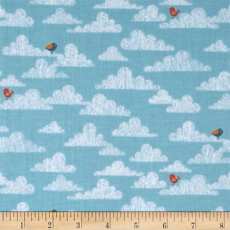 Jungle Birds on Clouds Blue from @fabricdotcom  Designed by The Henley Studio for Makower Studio, this fabric is perfect for quilting, apparel and home décor accents.  Colors include white, red, gold and orange on a blue background.