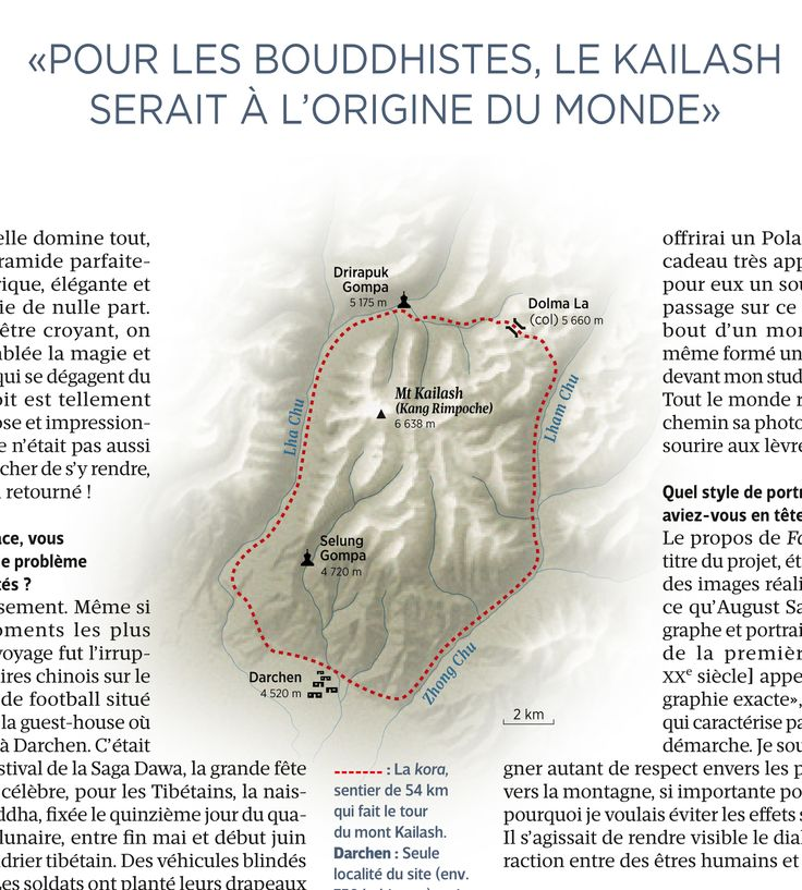 Mount Kailash pilgrimage tour (Tibet, China). Map created by Hugues Piolet for GEO Magazine.