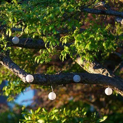 LED String Lights, 2.5 Inch Round Nylon Lanterns, Solar Power, White