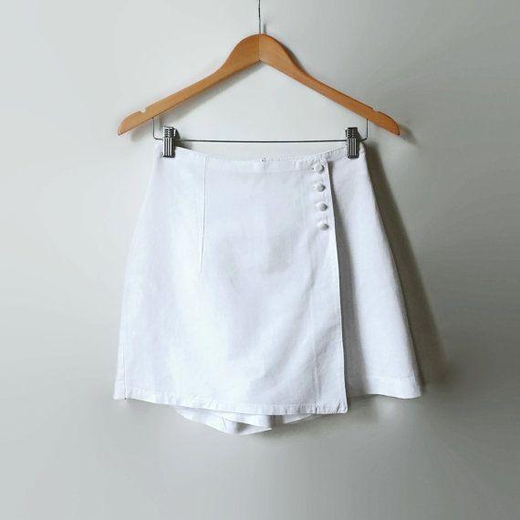 White Linen Mini Skort  Vintage Clothing Women  90s  by branda