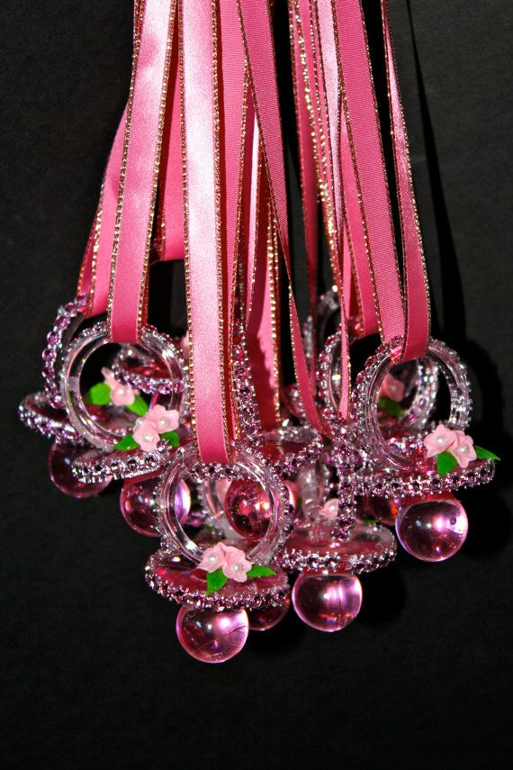 bling pacifier necklace. Update: Made one of these for the Mommy-to-Be. Had everything on hand. Used same ribbon but used iridescent rhinestones. Took about 3 minutes! Big Hit!!!!! Had the WOW Factor!!!! ML
