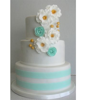 Fun aqua striped cake