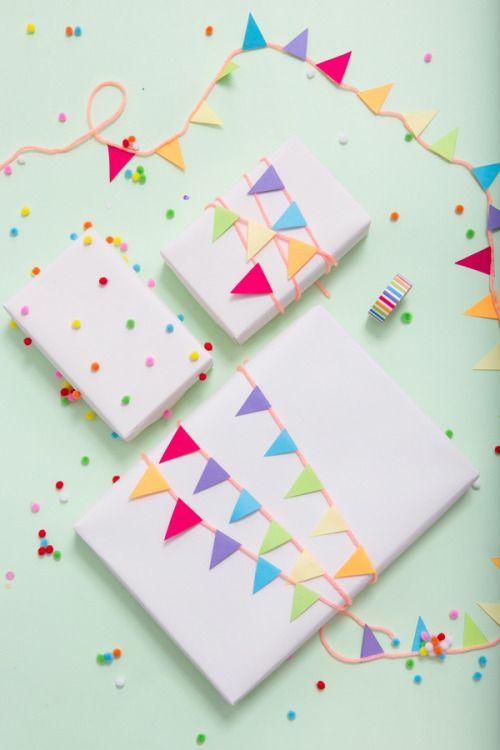 "createforless: ""Pom Pom Paper & Garland Wrapped Gifts via A Subtle Revelry """